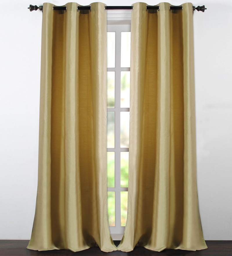 Amber Green Polyester 46 x 90 Inch Jacquard Eyelet Door Curtain - Set of 2 by Deco Essential