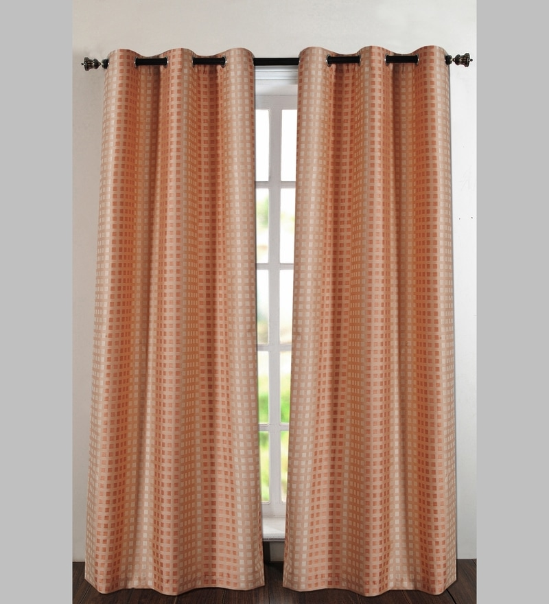 Orange Jacquard Dot Box 60 x 46 Inch Single Panel Curtain - Set of 2 by Deco Essential