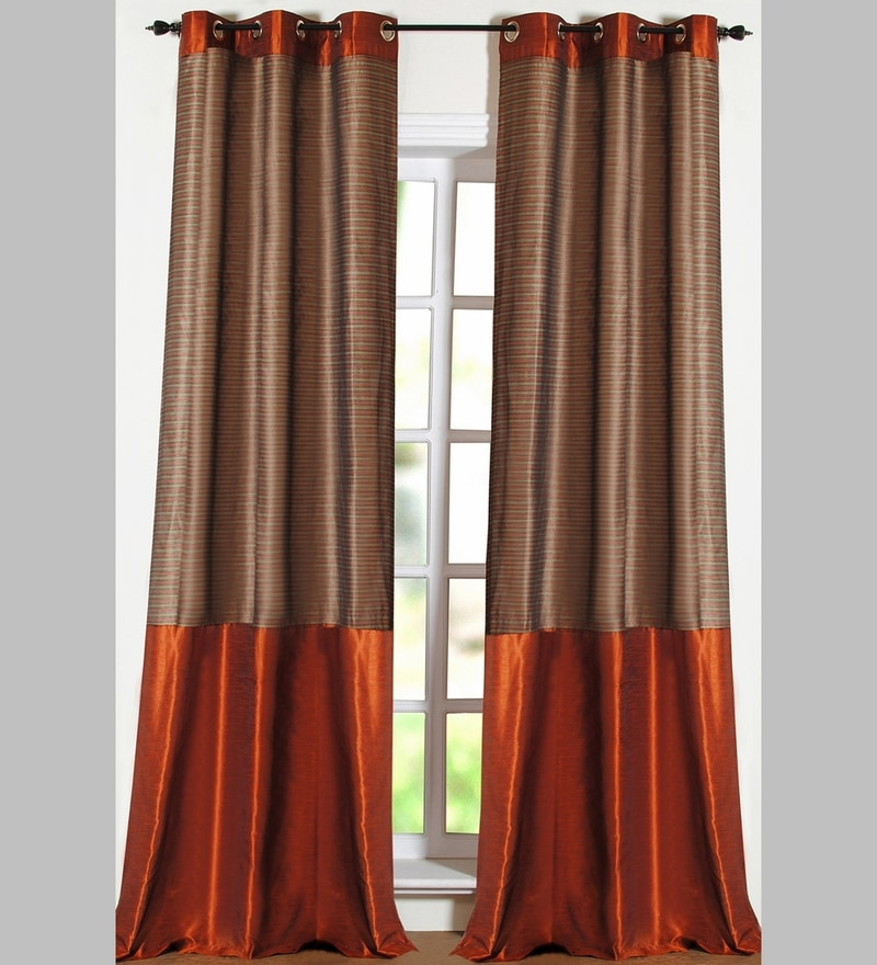 Rust Polyester 60 x 42 Inch Stripe Band Window Curtain - Set of 2 by Deco Essential