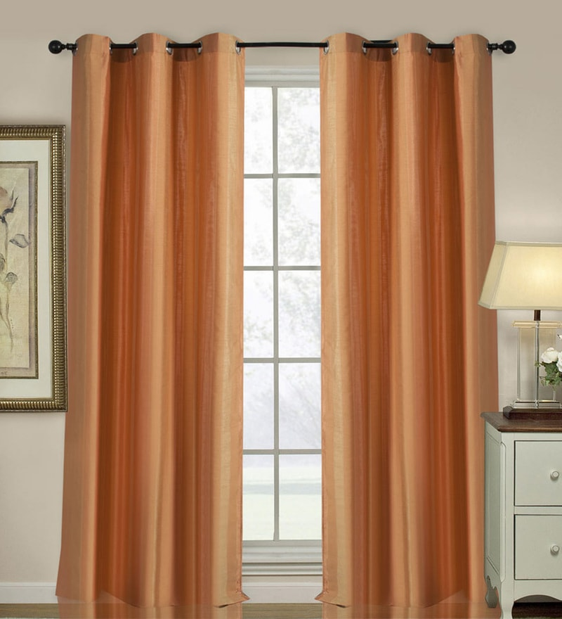 Orange Polyester 46 x 90 Inch Jacquard Eyelet Door Curtain - Set of 2 by Deco Essential