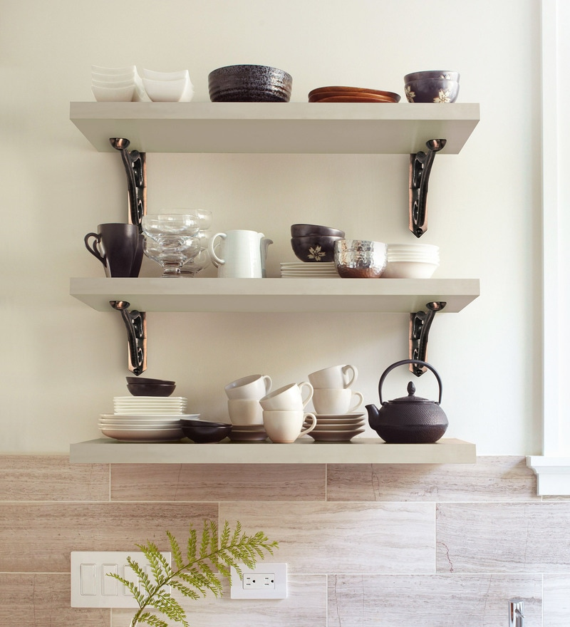 Buy White Solid Wood Particle Board & Aluminium Wall Shelf with ...