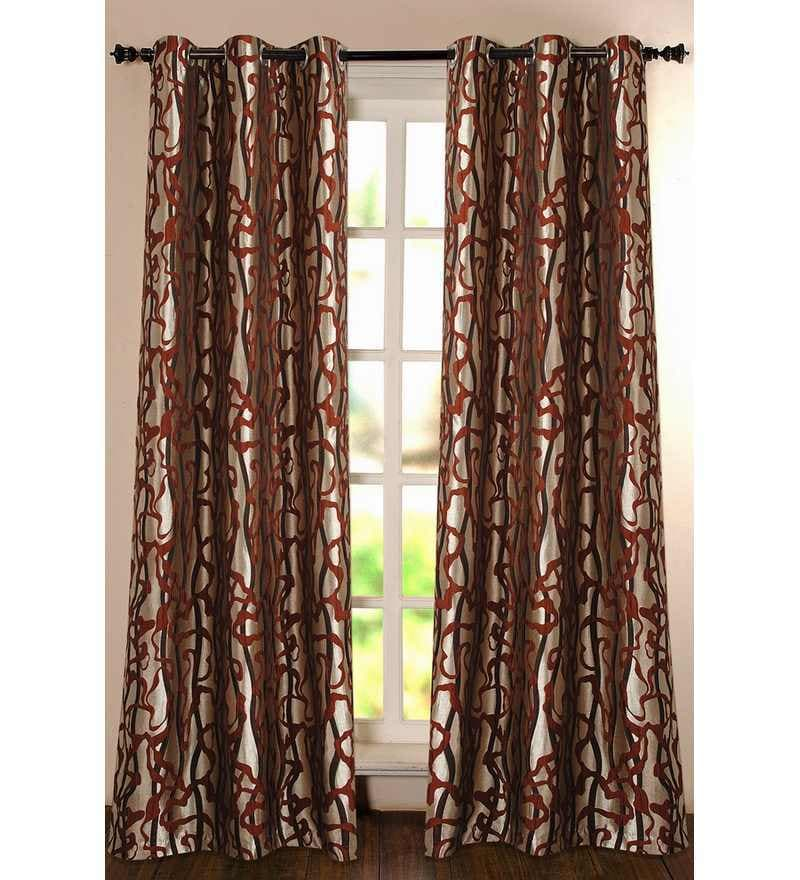 Pink Polyester Floral 90 INCH Door Curtain - Set of 2 by Deco Essential