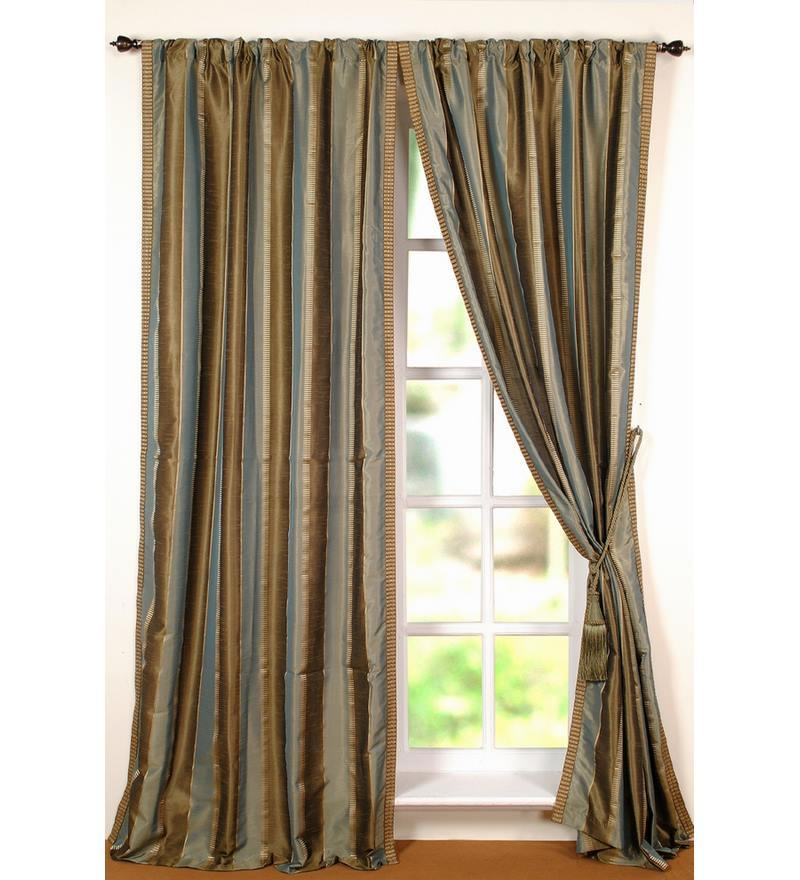 Green Polyester 96 INCH Door Curtain - Set of 2 by Deco Window