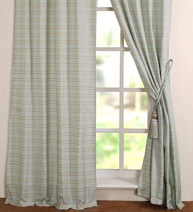 Sea Foam Polyester 48 x 108 Inch Door Curtain - Set of 2 by Deco Window