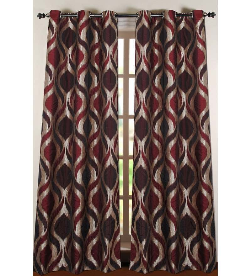 Purple Polyester 90 INCH Door Curtain - Set of 2 by Deco Essential