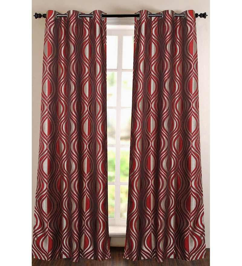 Red Polyester 60 INCH Window Curtain - Set of 2 by Deco Essential