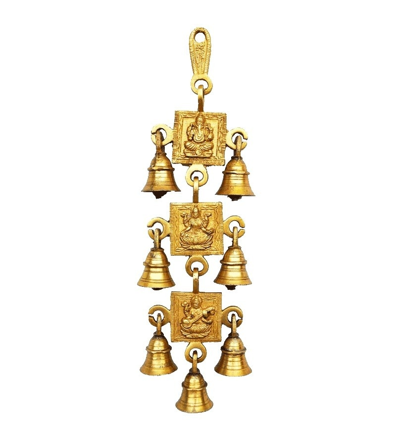 Hanging Wind Chime Gold Brass Hanging Bell by Aakrati Ashopi