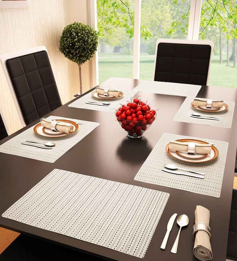 Decorika Beige Colored Stripe Designed Reversible Table Mat - Set Of 6 Pcs