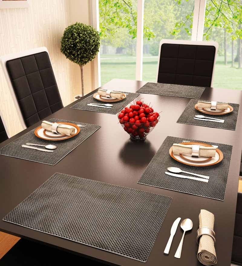 Decorika Reversible Gray PVC Table Mat - Set of 6