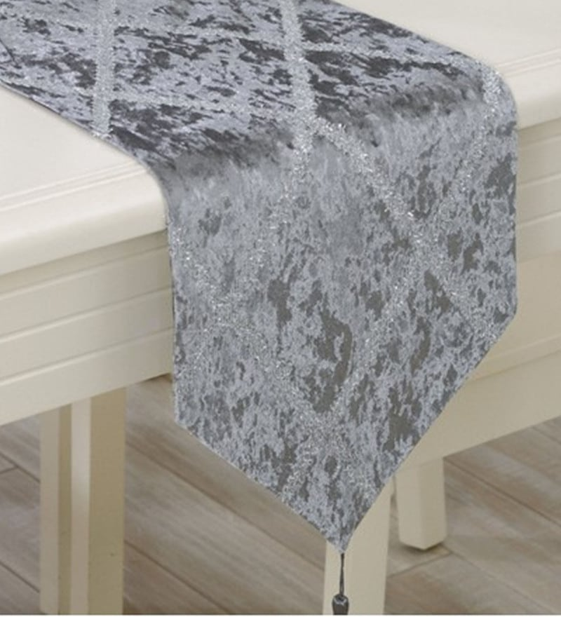 Decorika Pretty Grey Velvet Table Runner