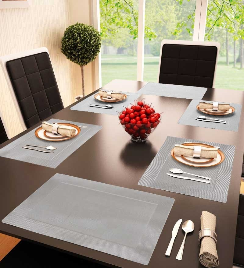Decorika Silver Colored Reversible Table Mat - Set Of 6 Pcs