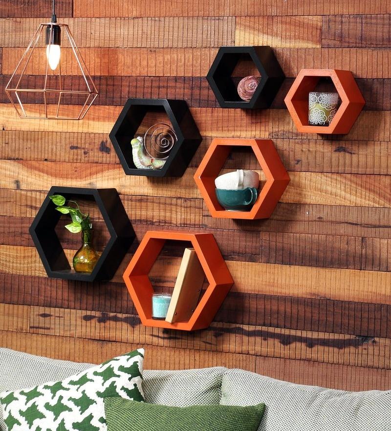 DecorNation Black & Orange MDF Hexagon Wall Shelf - Set of 6