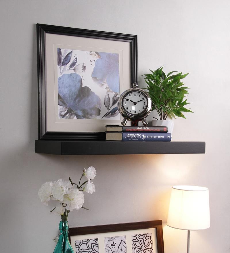 Black MDF Single Flat Floating Wall Shelf by AYMH