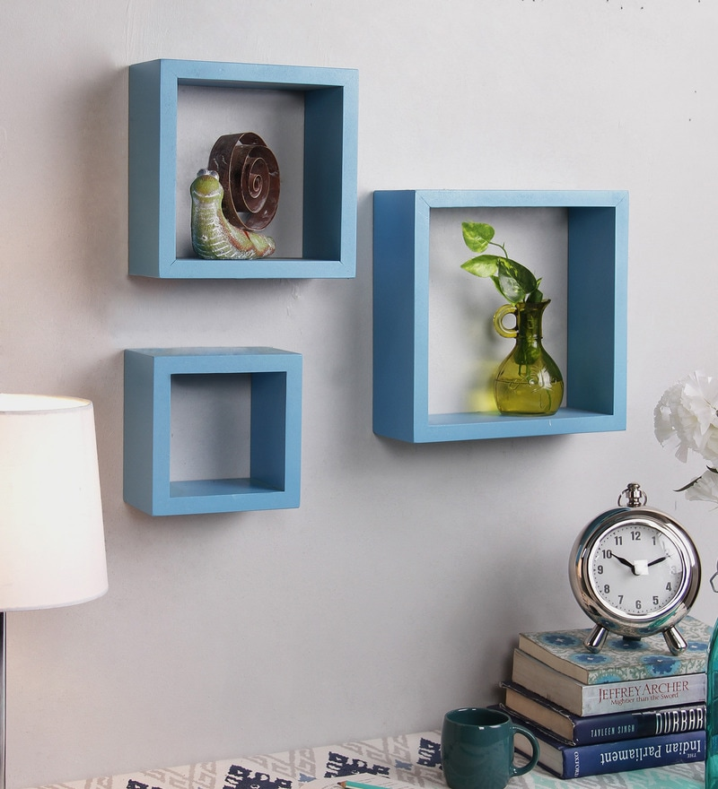 Boxy Modular Wall Shelf Set Of 3 In Blue Finish By Decornation