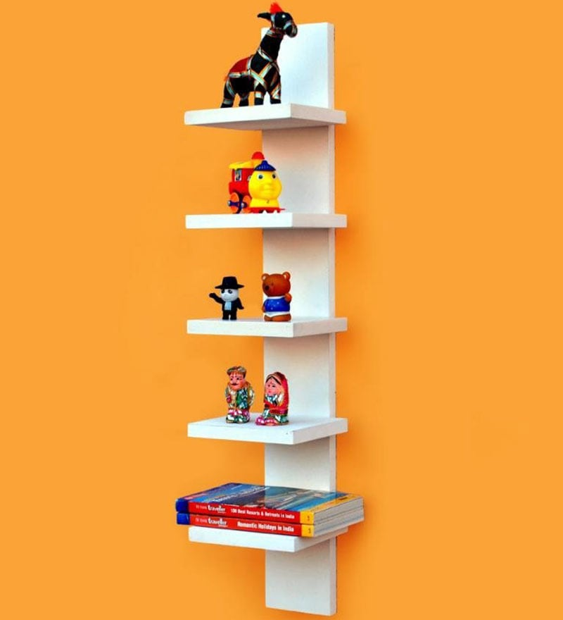 White Wall Mounting 5 Tier Durable Shelf by AYMH