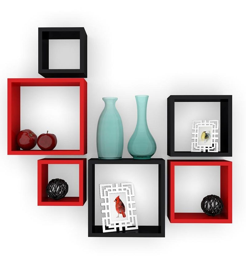 Buy red black mdf nesting square durable wall shelf for Decor nation