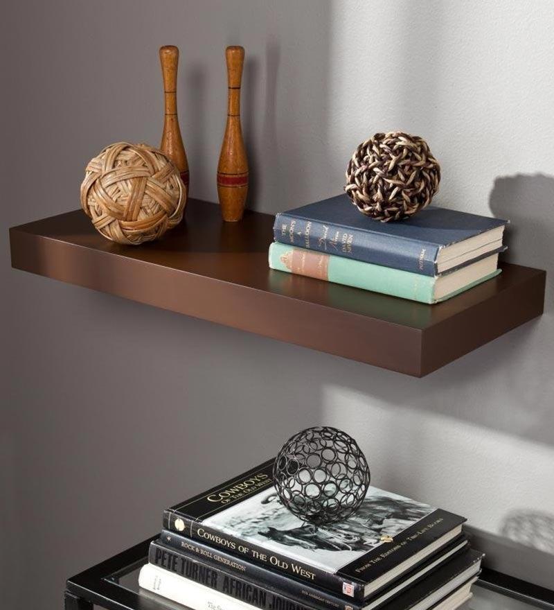 AYMH Brown MDF Single Flat Floating Wall Shelf