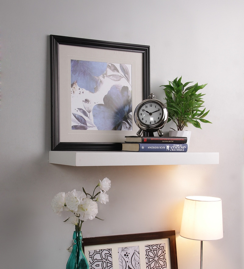 White MDF Single Flat Floating Wall Shelf Rack by AYMH