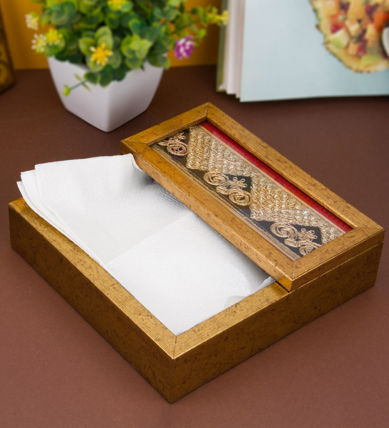 Decotrend Scroll Brown Synthetic Wood Tissue Holder