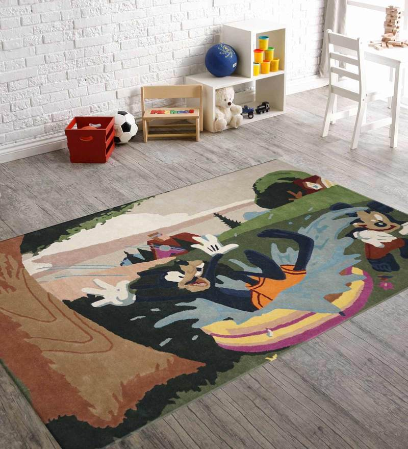 Indian Hand Made Floor Carpet Tufted Kids Mickey Mouse Design by Designs View