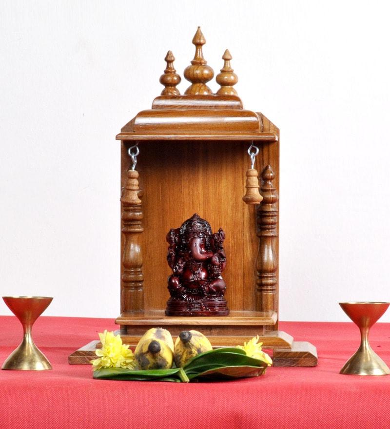 Brown Teak Wood Jeeva Temple by Designer Lanes