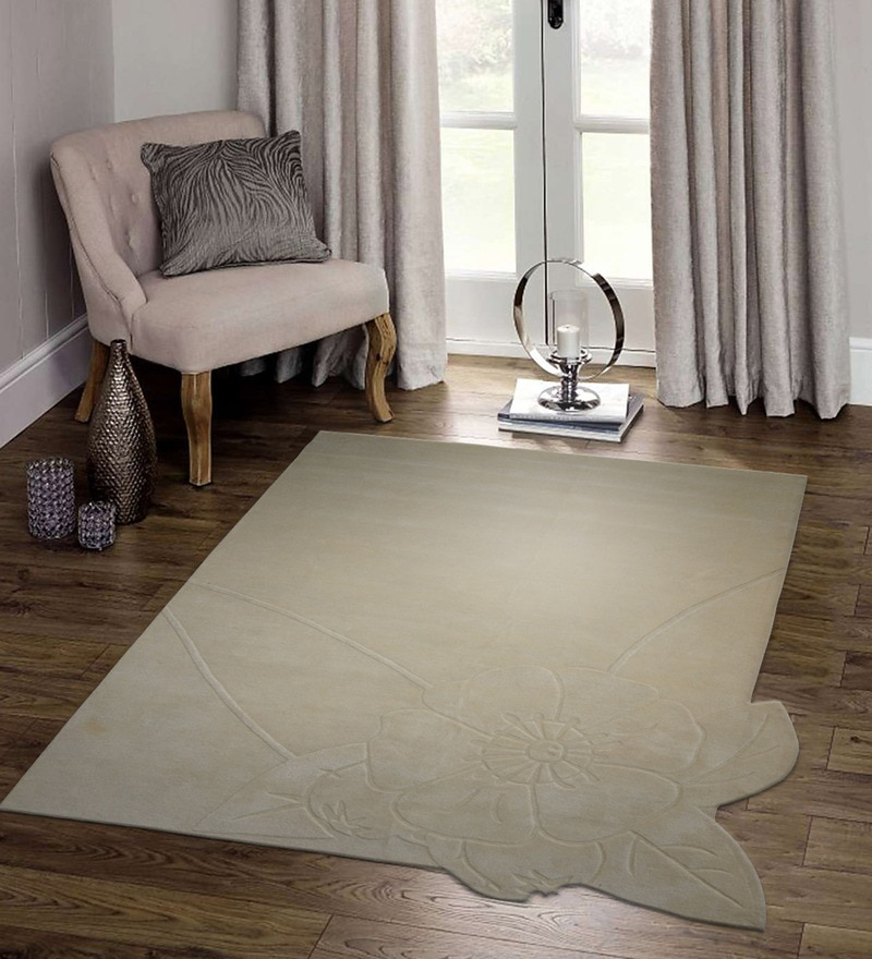 Beige & Ivory Wool 90 x 60 Inch Hand Tufted Flower Corner Design Area Rug by Designs View