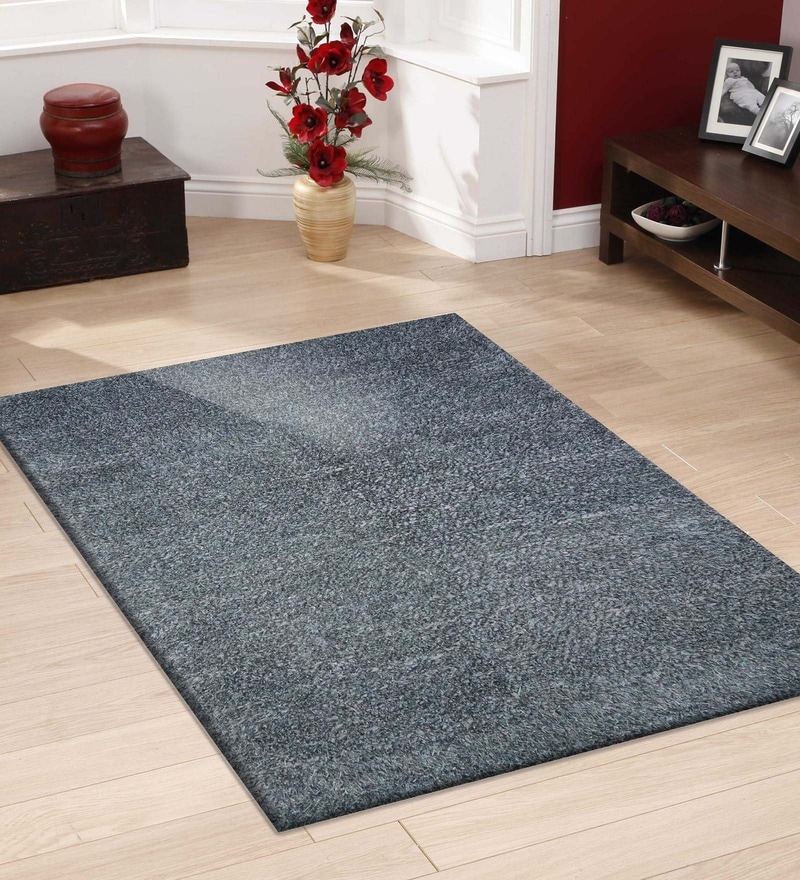 Blue Polyester 66 x 90 Inch Handmade Area Rug by Designs View
