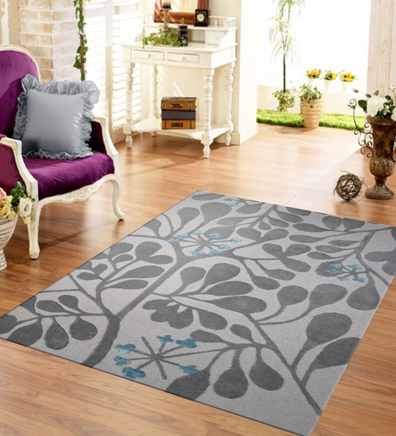 Grey & Silver Wool & Cotton 48 x 72 Inch Hand Tufted Dalia Design Carpet by Designs View