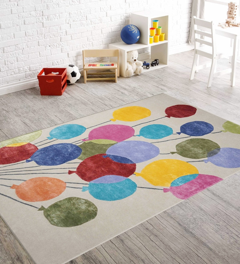 Multicolor Woolen Rectangular Balloon Kids Carpet by Designs View