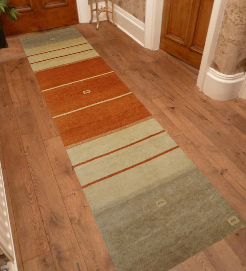 Multicolour Wool 96 x 30 Inch Contemporary Hand Knotted Runner by Designs View