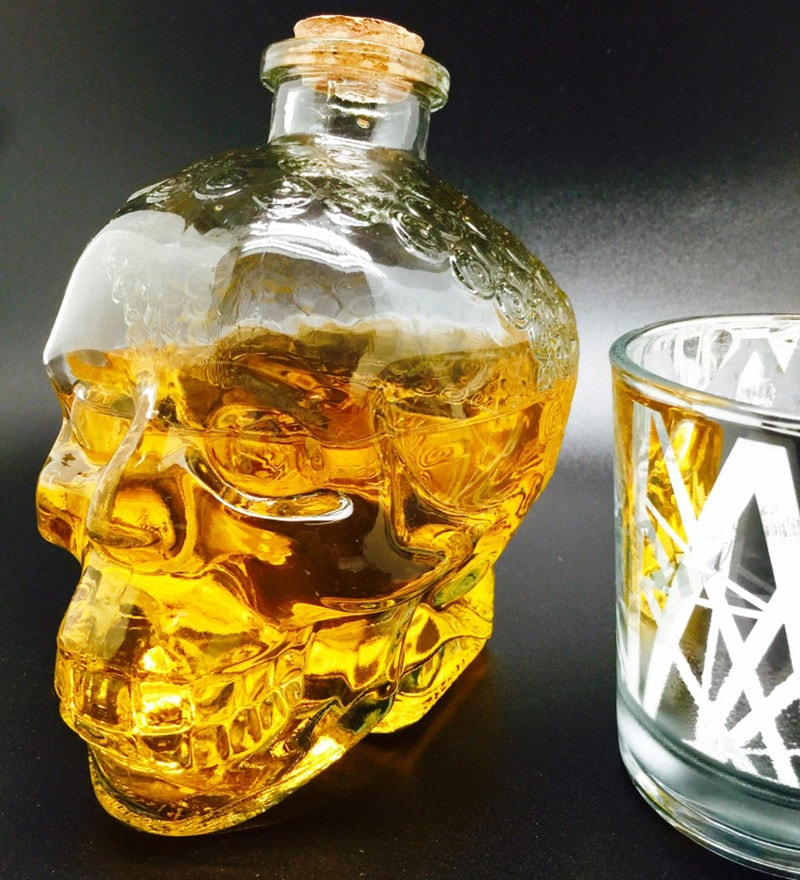 Devnow 800 ML Glass Skull Decanter