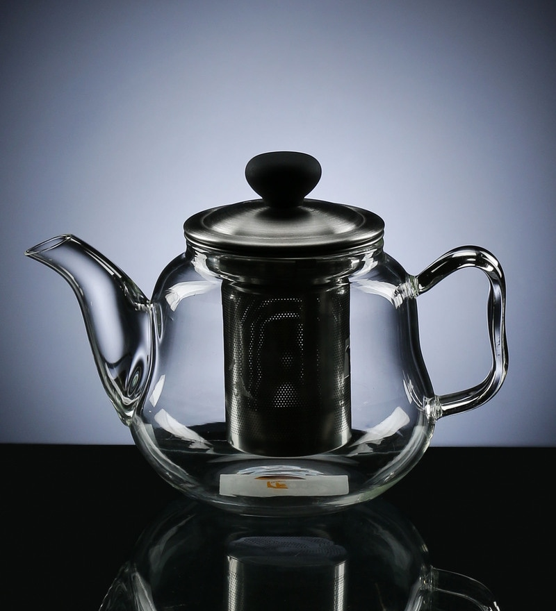 Devnow Borosilicate Glass & Stainless Steel 300 ML Teapot with Filter