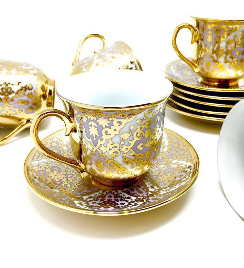Devnow Empress Bone China 160 ML Cup & Saucer - Set of 6