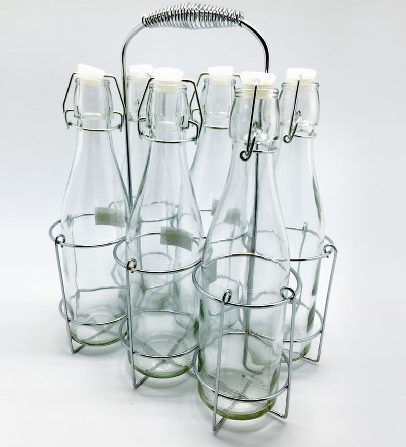 Devnow Glass 500 ML Bottles with Chrome Caddy- Set of 7
