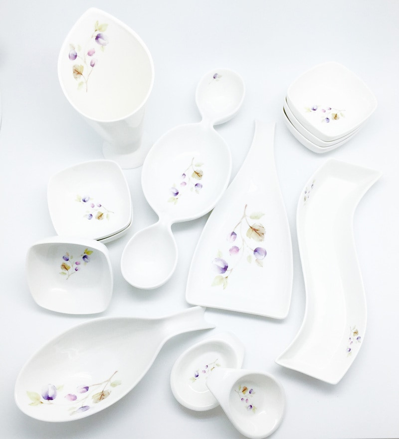 Porcelain Entertainment Snack Set - Set of 13 by Devnow