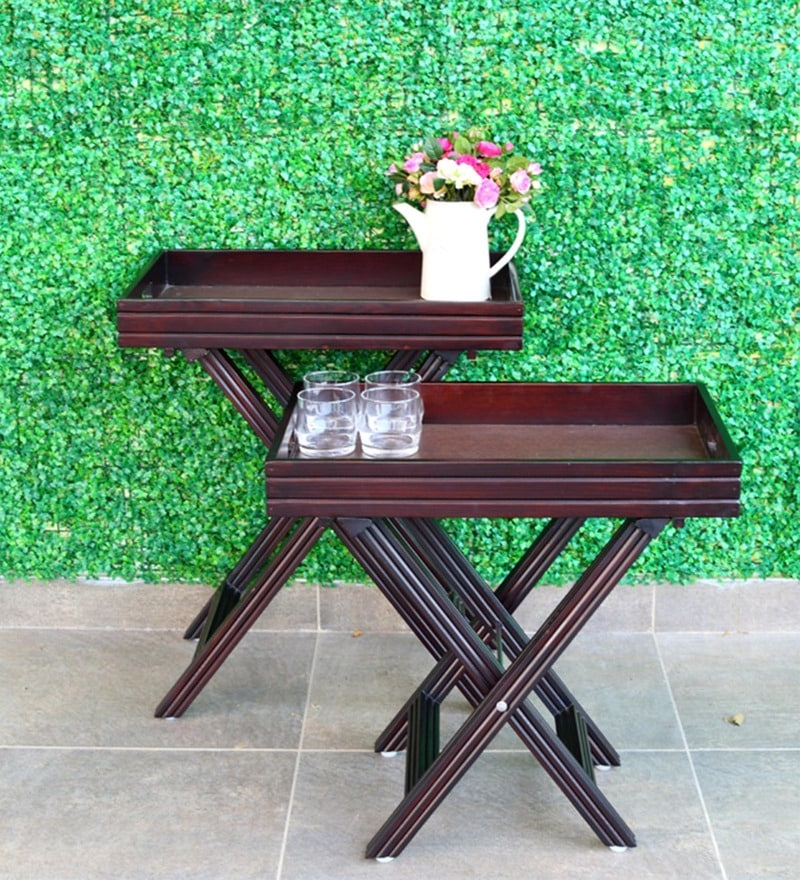 Deziworkz Brown Wooden Small Butler Tray Table Set