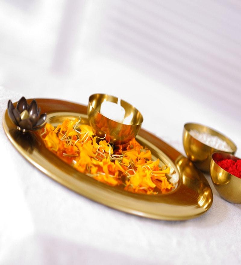 Gold Metal Decorative Lotus Thali by Deziworkz