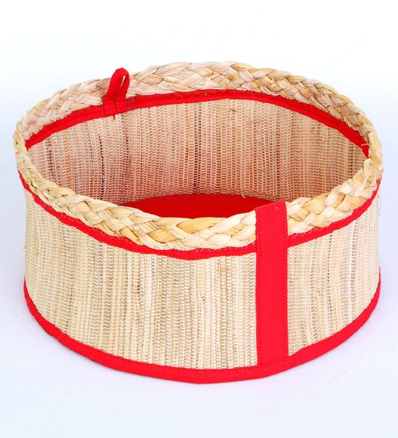 Deziworkz Handcrafted Small Jute Red Round Deep Gift Basket