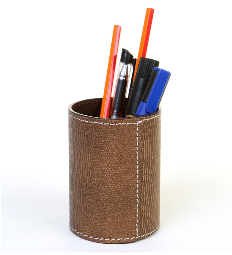 Deziworkz Leather Brown Pen-Pencil Holder