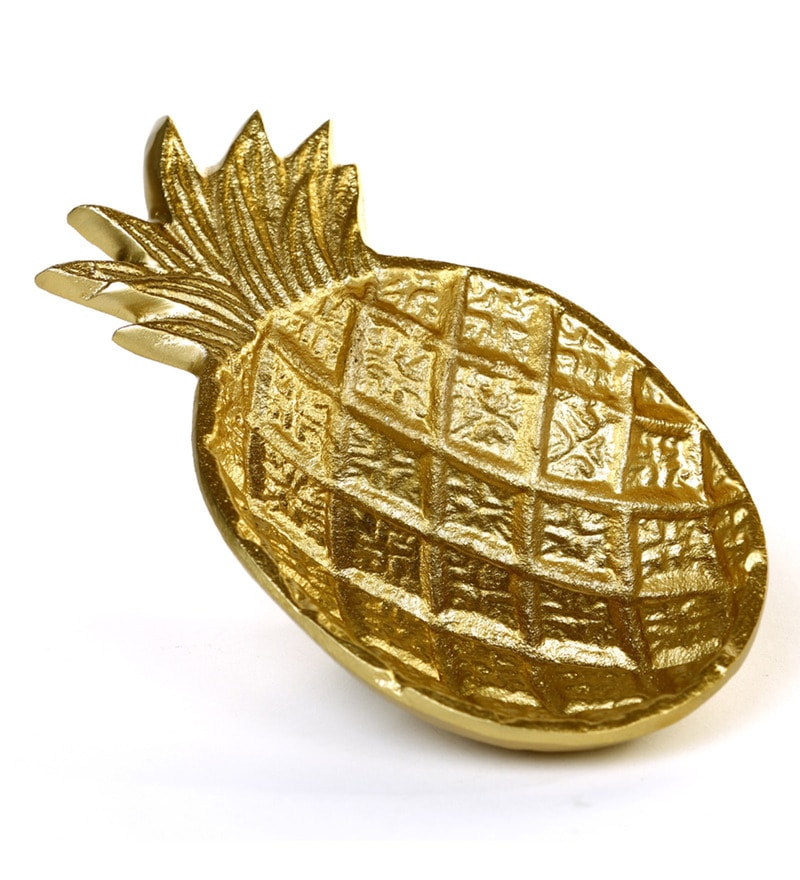 Pineapple Metal Gold Trinket Tray by Deziworkz