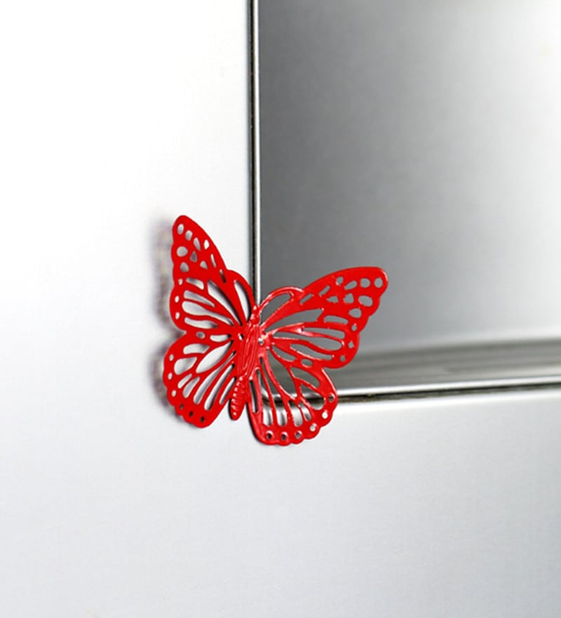 Red Metal Decorative Butterfly Fridge Magnet - Set of 2 by Deziworkz