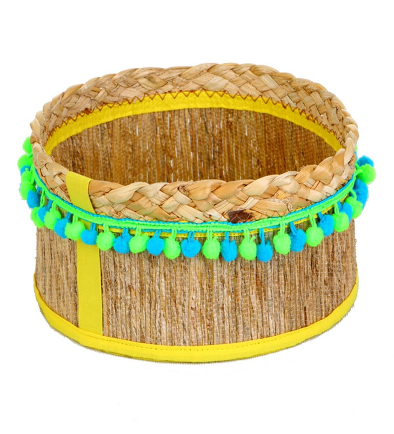 Deziworkz Rope Handcrafted Round Small Jute Round Deep Gift Basket