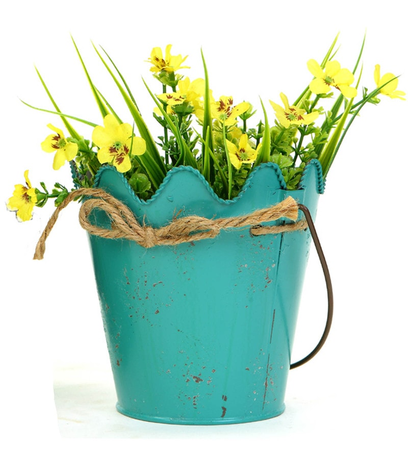 Sea Green Metal Hanging Flower Arranging Bucket Planter by Deziworkz