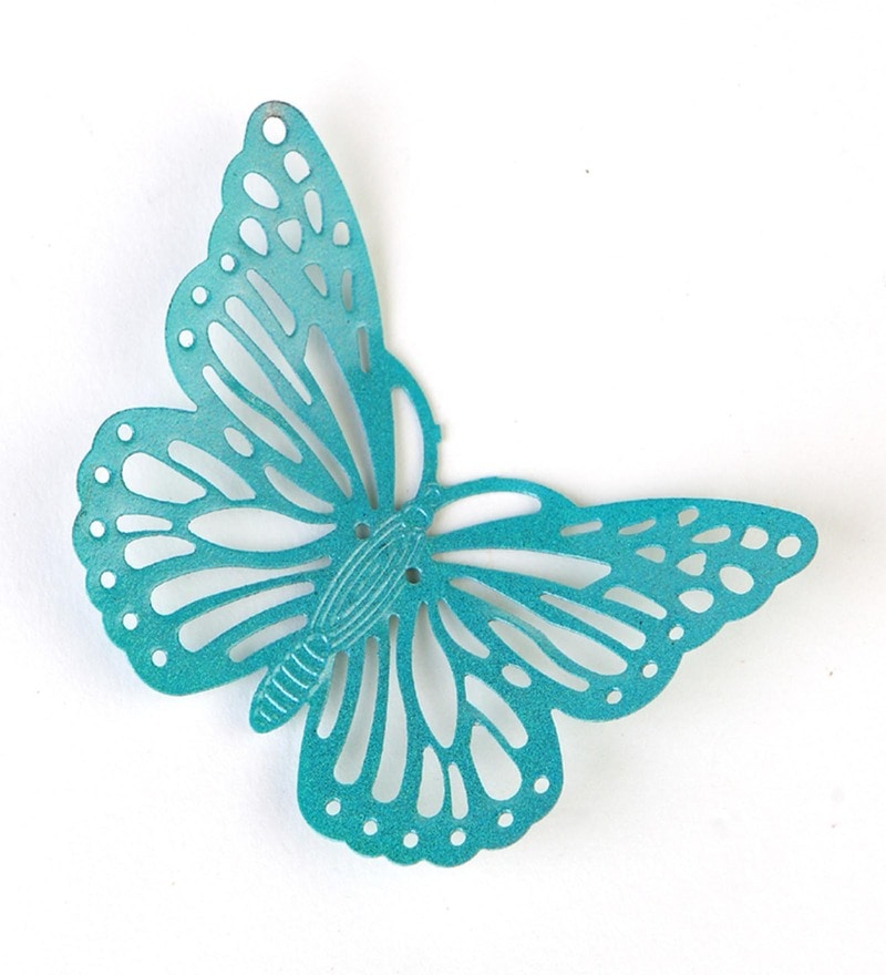Turquoise Metal Decorative Butterfly Fridge Magnet - Set of 2 by Deziworkz