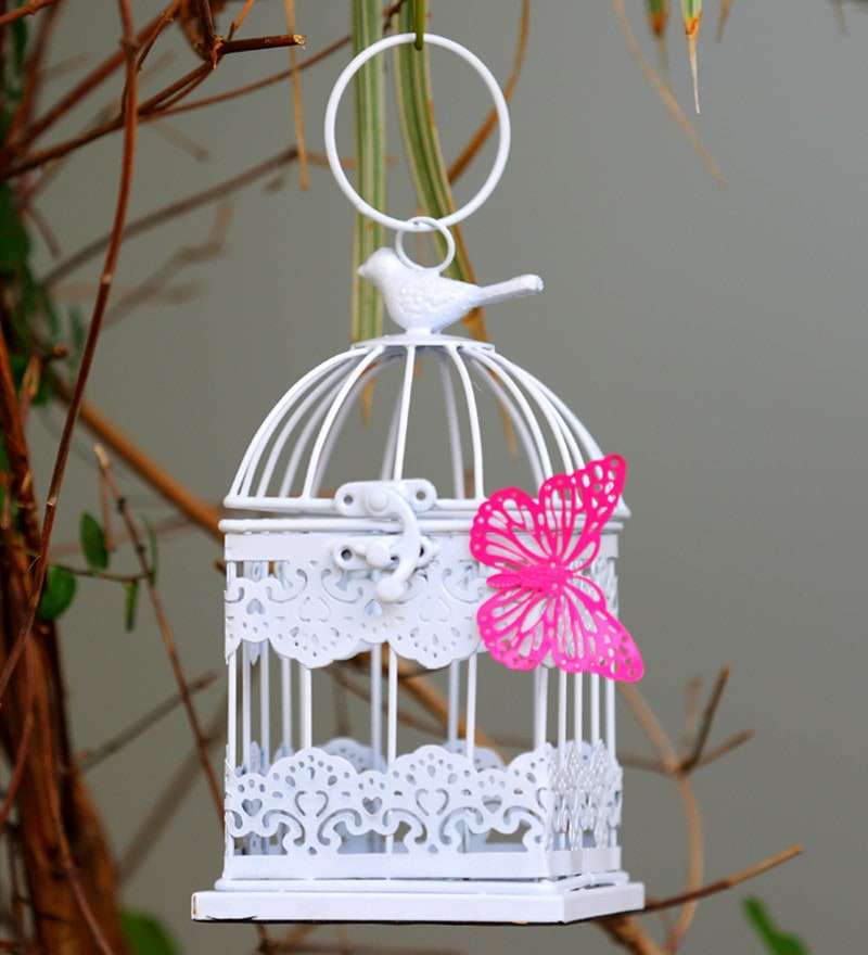White Metal Mughal Jaal Birdcage Hanging by Deziworkz