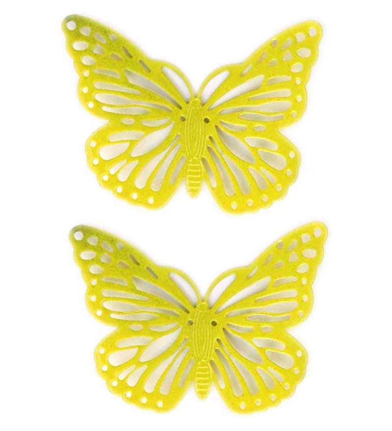 Yellow Metal Decorative Butterfly Fridge Magnet - Set of 2 by Deziworkz