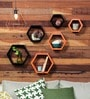 AYMH Black & Orange MDF Hexagon Wall Shelf - Set of 6