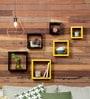 DecorNation Black & Yellow MDF Square Shelf - Set of 6