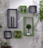 AYMH Green & Purple MDF Cube & Rectangle Designer Wall Shelves - Set of 6