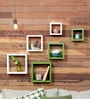 AYMH Green & White MDF Square Shelf - Set of 6